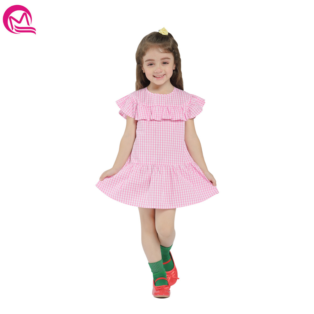 MIQI Baby Girls Dress 2018 Plaid Petal Sleeve Pink Cute Children Clother for Girl Knee Length Dresses 2-6 Years