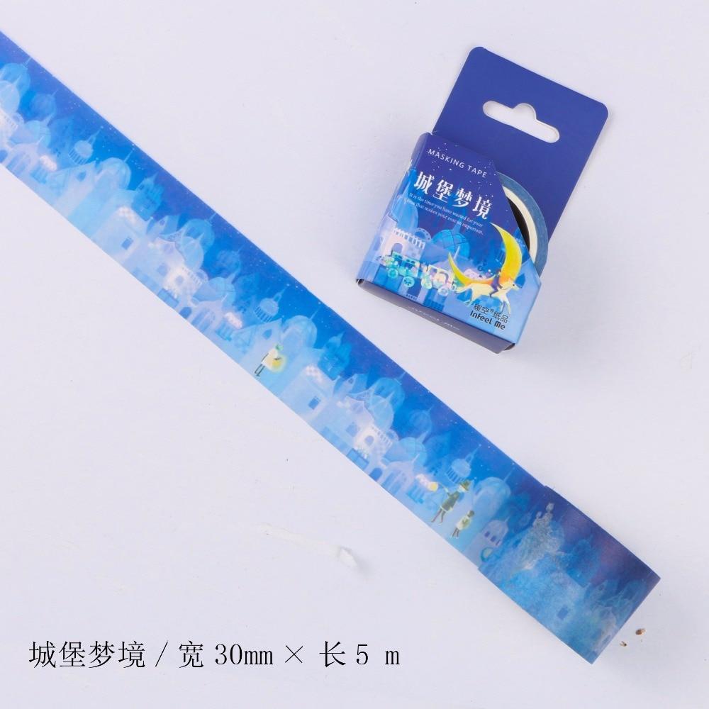 30mm Wide Dream Castle Fairy Tale Fantasy Decoration Washi Tape DIY Planner Scrapbooking Diary Masking Tape Escolar