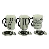 Новинка креативная белая музыкальная чашка нотки фортепианная клавиатура керамическая чашка фарфоровая чашка кофейная чашка с крышкой по...