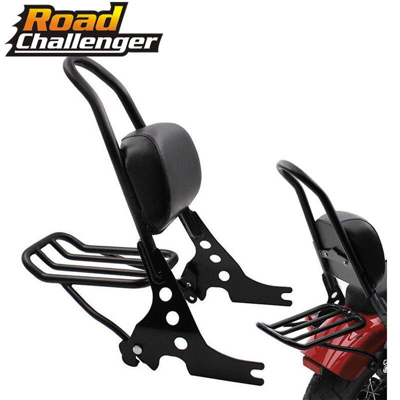 Black Luggage Rack Rear Passenger Backrest Sissy Bar Cushion Pad Motorcycle  For Harley Sportster 883 1200 XLH XL 883C 883R 1200