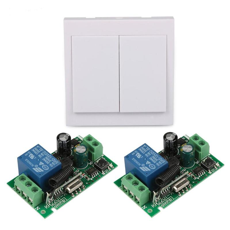 2 Gang Panel Wall Light Transmitter 433 MHz RF Switch with 220V 1 CH Relay Receiver Module Remote Control Diy Garage Door Switch 2017 free shipping smart wall switch crystal glass panel switch us 2 gang remote control touch switch wall light switch for led