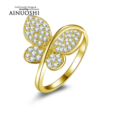 AINUOSHI 10K Solid Yellow Gold Women Engagement Ring Sona Diamond Jewelry Top Quality Butterfly Shape Joyeria Fina Femme Rings