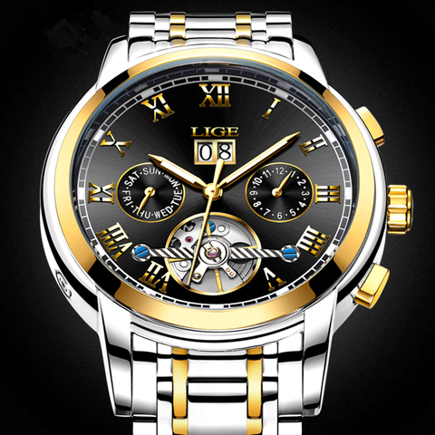 LIGE Mens Watches LIGE Top Brand Luxury Tourbillon Waterproof Automatic Mechanical Watch Mens Stainless Steel Sport Watch+Box Lahore