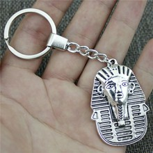 New Fashion Men Jewelry Keychain Diy Metal Holder Chain Egypt Queen 50x35mm Antique Bronze Silver Pendant Gift
