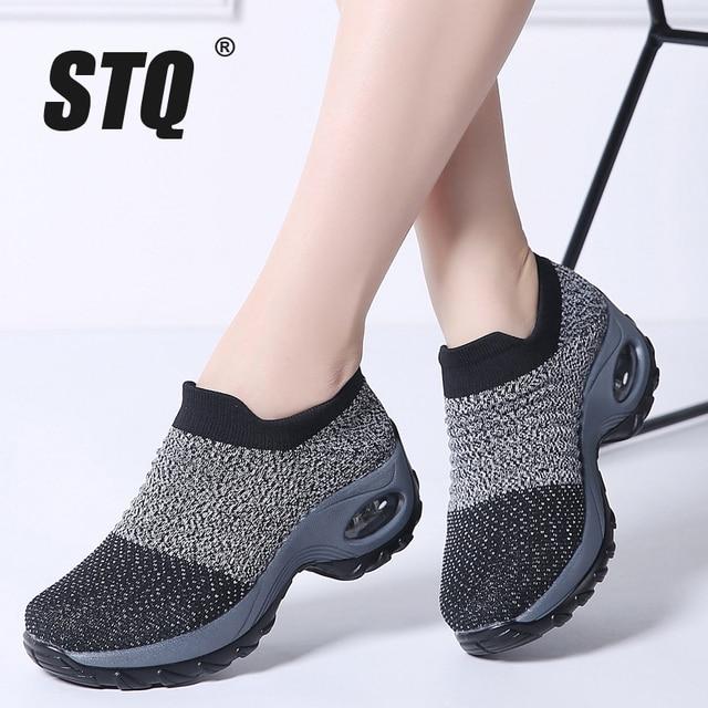 STQ 2019 Spring women sneakers shoes flat slip on platform sneakers for women black breathable mesh sock sneakers shoes 1839