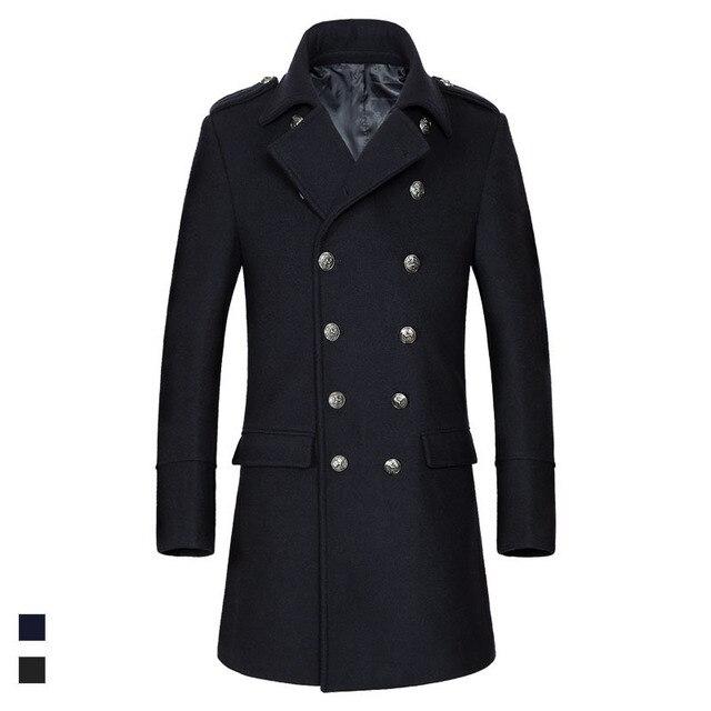 2018 Hiver chaud laine manteau hommes double boutonnage pleine manches  tournent vers le bas coupe- 56bbf47c231e