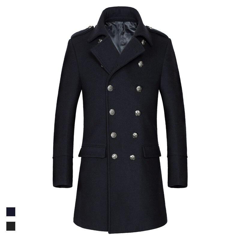 2019 Winter warm wool coat men double breasted full sleeve turn down collar windbreaker slim woolen   trench   coats outerwear