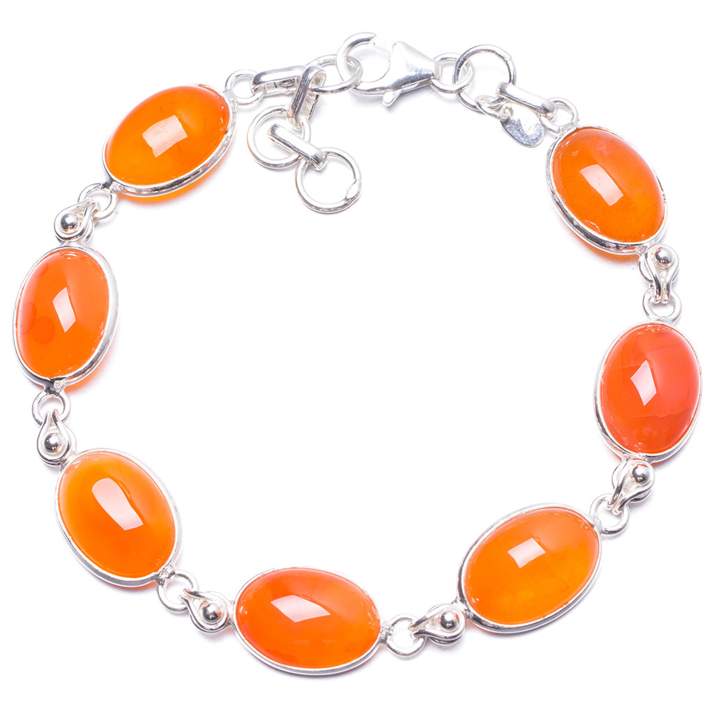 Natural Carnelian Handmade Unique 925 Sterling Silver Bracelet 7 1/4-7 3/4 Y1979 люверсы колечки piccolo черный 5 5 мм 1000 10% шт