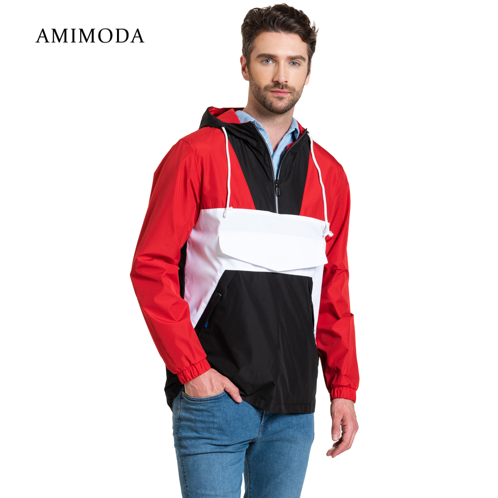 Jackets Amimoda 10017-019907 Men\'s Clothing windbreakers for men cloak jacket coat parkas hooded self tie waist solid hooded coat