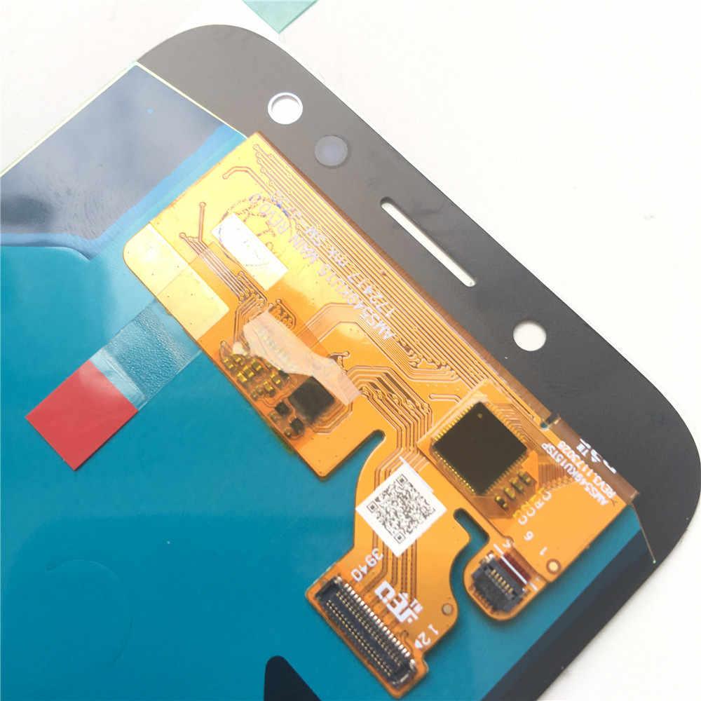 عرض J7 سوبر AMOLED 100% اختبار العمل LCD مجموعة المحولات الرقمية لشاشة تعمل بلمس لسامسونج غالاكسي J7 برو 2017 J730 J730F