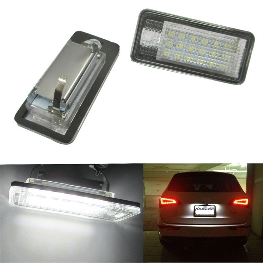 2017 NEW Car-stlyling 2pcs White Error Free LED License Plate Light Lamp For Audi A3 A4 A6 S6 A8 Q7 car accessories #6.1