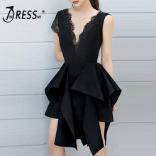 INDRESSME 2019 New Sexy Strapless Knee-Length Asymmetrical Hem Ruffles V Neck Lace Hollow Out Women Sleeveless  Lady Party Dress цены