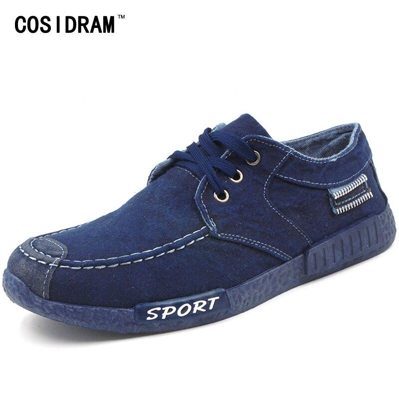 2016 Autumn Non leather Casual Shoes Canvas Rubber Men Shoes Breathable Gumshoe Designer Male Footwear Denim