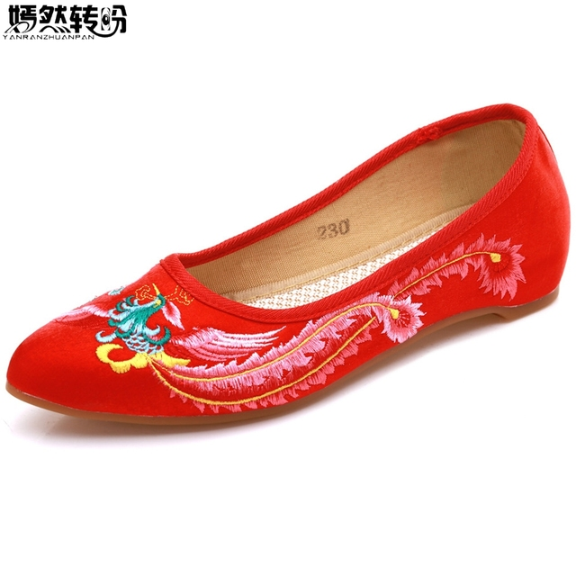 Shoes Women Flats Phoenix Embroidery Cloth Shoes Pointed Toes Cotton  Chinese Wedding Bridal Red Ballet Zapatillas Mujer 841c8060b649