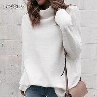 Женский трикотажный свитер LOSSKY, белый пуловер с высоким воротом и длинным рукавом, осень-зима 2018