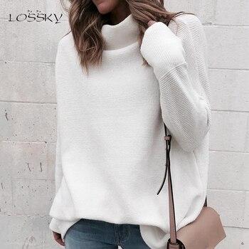ab89b1fe53 LOSSKY Mulheres Camisola Branca de Manga Longa Outono Inverno Blusas de Malha  Jumper de Pullover Moda 2018 Camisola de Gola Alta Feminina