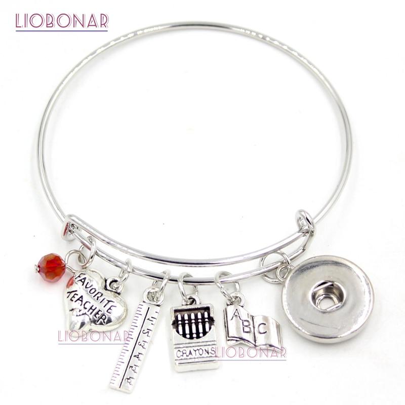 1 Pc Snap Sieraden Leraar Armband Boek Heerser Kleurpotloden Charms Uitbreidbaar Verstelbare Bangle Drukknoop Armbanden Voor Leraar Geschenken Exquise Vakmanschap;