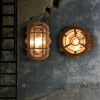 European Retro LED Wall lamp Outdoor Wall Sconce Lighting Waterproof Garden Wall Light Fixtures Iron Glass Antique Porch Lights