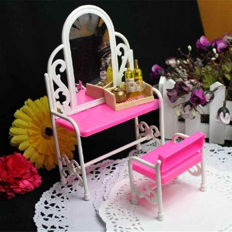 Cadeira Penteadeira Pretend Play House Brinquedos Penteadeira Princesa Cadeira Para Bonecas Móveis Em Miniatura Brinquedo Fácil de instalar