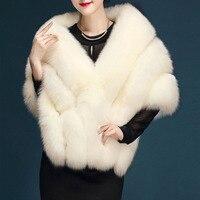 Ladychili One Size Women Faux Fur Fox Fur Pink Ivory Thick Wrap Winter Scarf Fur Faux Wedding Pashmina Outwear J100
