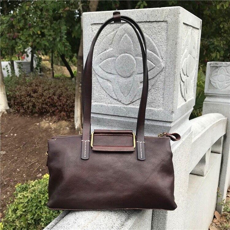 Фотография 2018 famous brand designer high quality women shoulder bags of natural skin vintage brown