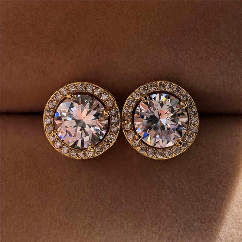 יוקרה קריסטל נקבה קטן עגול Stud עגילי וינטג כסף צבע חתונה תכשיטי זירקון אבן עגילים לנשים