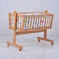 Экспорт твердой древесины белого цвета сплошной цвет детская колыбель с детские постельные принадлежности набор