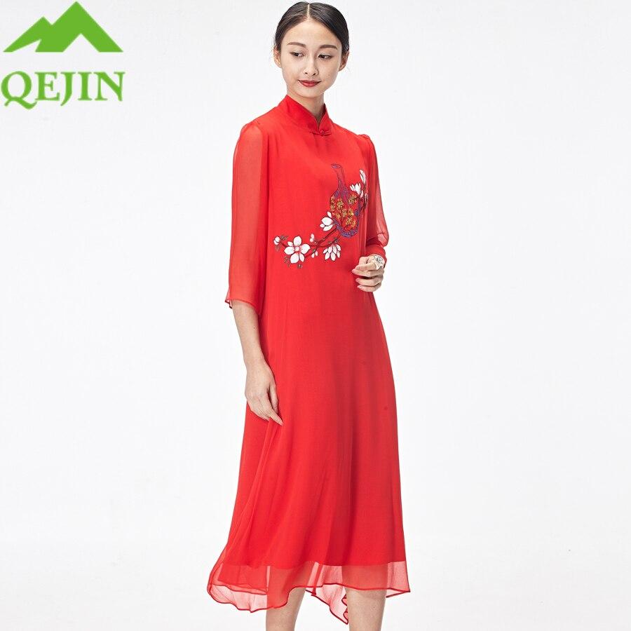 2018 femmes soie robes 100% nature soie été vestido floral broderie peint à la main longue plage robes élégant dame mode