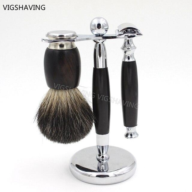 Ebony Wood Black Badger Hair Shaving Brush and Safety Razor Kits