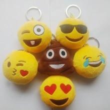 Hot Selling 6 Style Cute Yellow Emoji Cushion Stuffed & Plush Key Chains Phone Emoji Keychain Emoticon Key Ring arrogant emoticon style led white light keychain yellow black 3 x lr41
