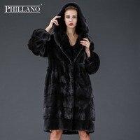 Phillano New premium women mink garment natural fur coat classic style Scandinavia Denmark NAFA YG13066P 100