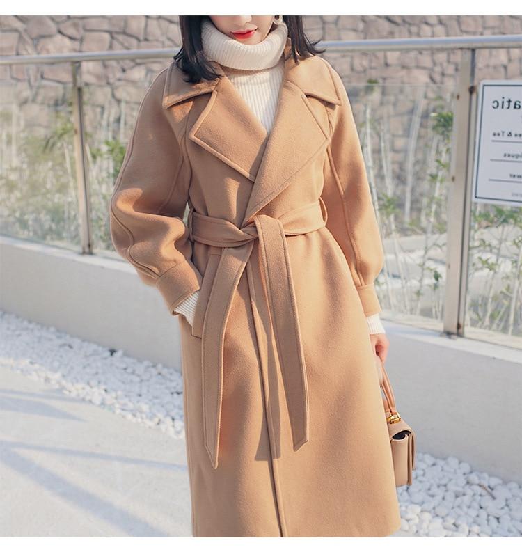 Winter Women Fashion Lantern Sleeve Woolen Overcoat Thick Wool Jackets Coats With Waist Korea Casual Woolen Coats Outerwear