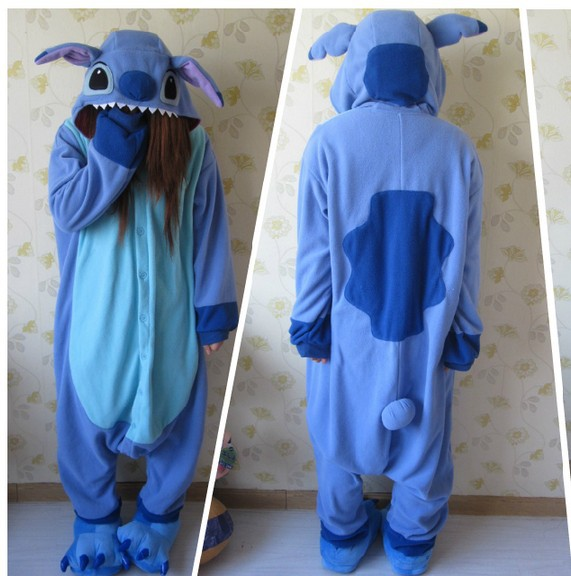 1f83b60b0d5b Designer kawaii Anime Animale Blu lilo stitch Pigiama Adulto Unisex Donna  Uomo Tutina Poliestere Polar Fleece