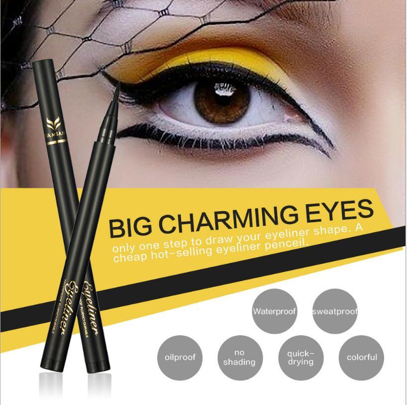 10 pcs Huamianli Silky Soft Eyeliner Cool Black Fibers Quick Dry Eyeliner Pen Anti - perspiration Waterproof