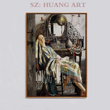 Ladies figure classical Korean beautiful girl decoration hotel club, Chinese famous painter Lu Jianjun modern oil painting,