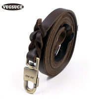 VUGSUCE PU Dog Leash Leather Sturdy Durable Genuine Pet Dog Rope Leads for Medium Large Dogs Training High Quality Pet Products