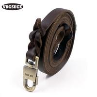 VUGSUCE PU Dog Leash Leather Sturdy Durable Genuine Pet Dog Rope Leads For Medium Large Dogs