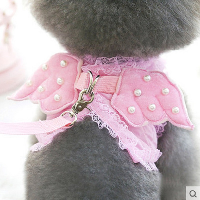 Adorable Comfort Pet Cat Harness Safety Walking Cat Vest Harness With Matching Lead Leash Angel Wings Lace Peals Design