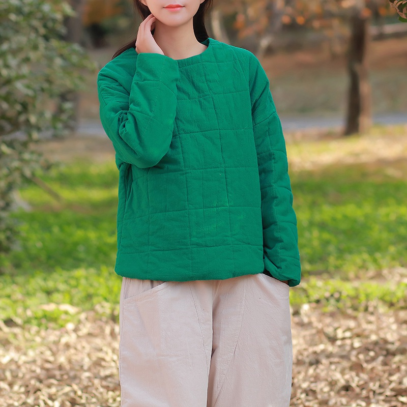 Solid O neck Cotton Women Coat Autumn Winter Thick Warm Chinese style Coats Jacket Women Kawaii Cute Manteau Femme C152