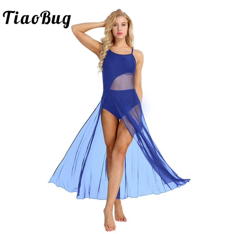 TiaoBug Women Sleeveless Asymmetrical Mesh Ballet Dance Maxi Dress With Built-In Leotard Ballerina Stage Lyrical Dance Costumes