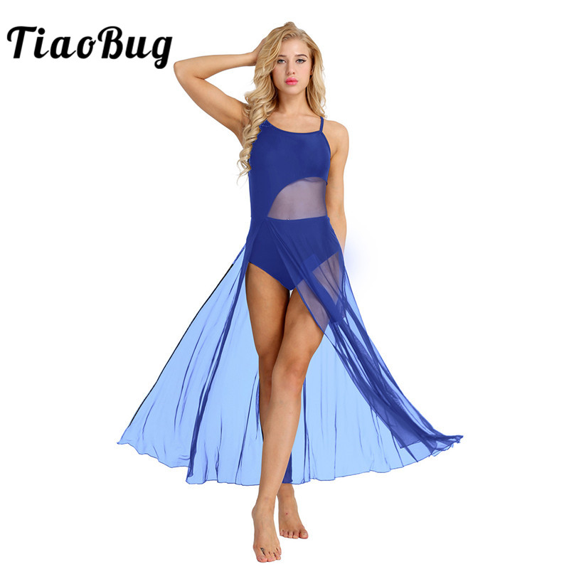 TiaoBug Women Sleeveless Asymmetrical Mesh Ballet Dance Maxi Dress with Built-In Leotard Ballerina Stage Lyrical Dance Costumes image