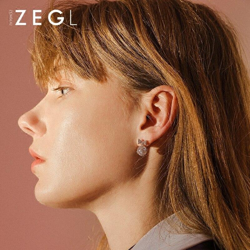 ZEGL asymmetric bow ear pierced ear clip female long paragraph simple fresh earrings in Clip Earrings from Jewelry Accessories
