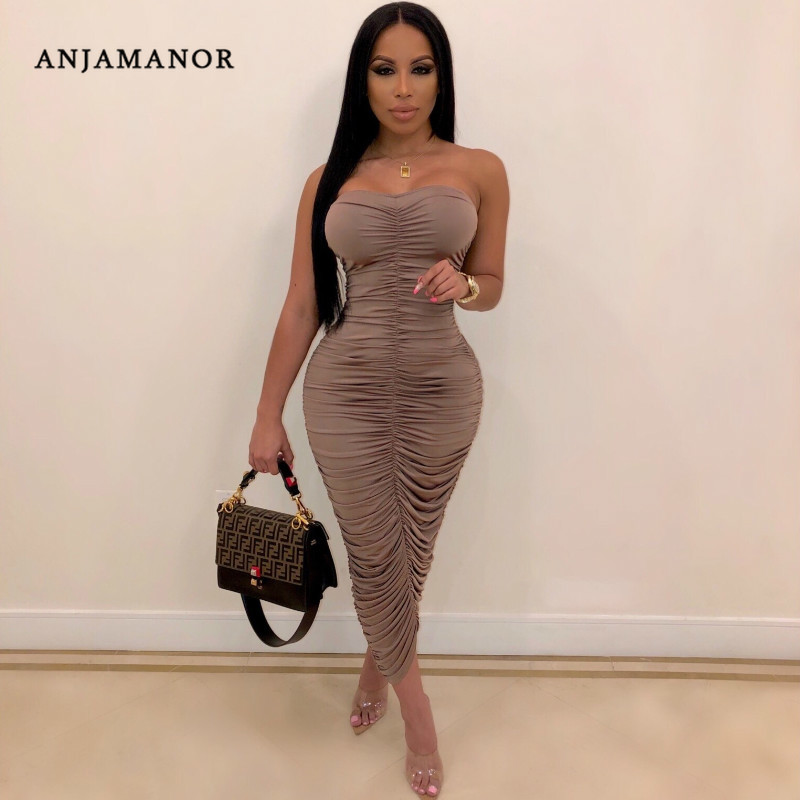 ANJAMANOR Tube Top Ruched Bodycon Long Maxi Dress 2019 Womens Summer Clothes Sexy Dresses Woman Party Night Club Wear D35 AD16|Dresses| - AliExpress