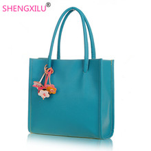 Shengxilu Candy Color Women Handbags 2018 Ladies Leather Brand Shoulder Bag Flowers Girls Totes High Quality Designer Women Bags