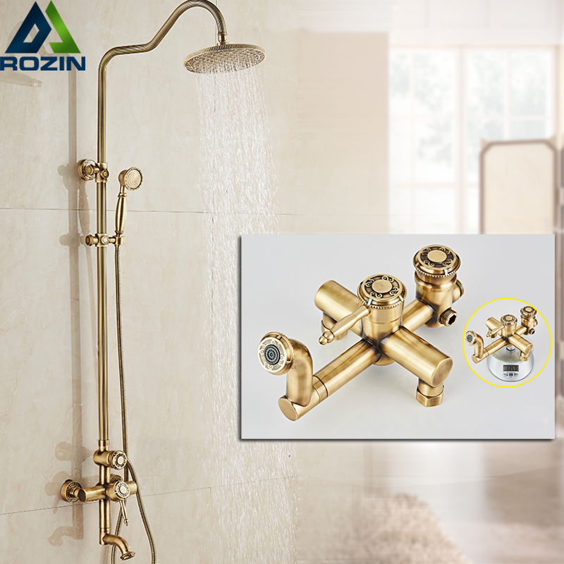 Retro Style Antique In Wall Shower Set Single Lever Brass