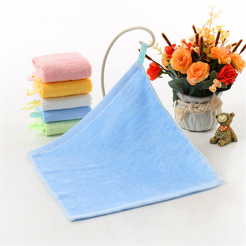 1pc Square 28*28cm Solid Blue Towel Bamboo Fiber Hanging Thicken Water-Absorption Face Towel Quick-Dry Hair Shower Towels Hand