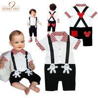 Baby Boy Girl Clothes Fake Strap Romper Summer Short Sleeves Toddler Infant Kid Jumpsuits White Black