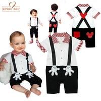 Baby Boy Girl Clothes Fake Strap Romper Summer Short Sleeves Toddler Infant Kid Jumpsuits White Black