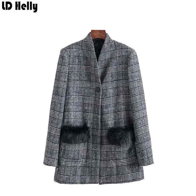 LD Helly Vintage Women Plaid Blazers Jacket Fashion Pocket Fur Patchwork Office Female L ...
