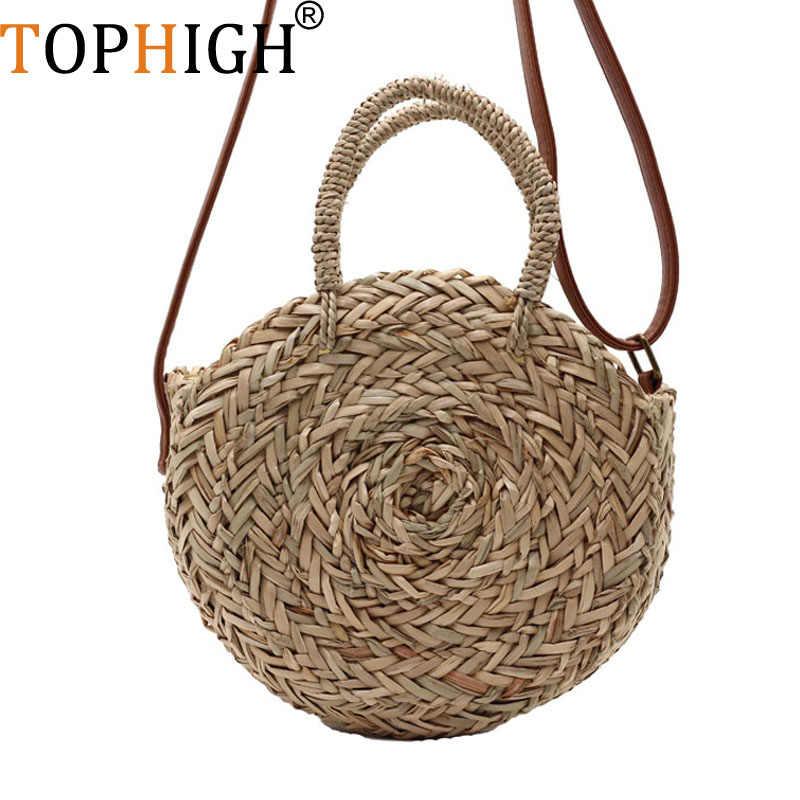 Пляжная сумка, круглые соломенные сумки, большие летние соломенные сумки с кисточками, pom, женская сумка из природного материала, 2018 желтая полосатая круглая